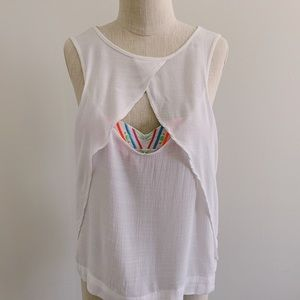 Free People White Peep Hole Open Front Tank Top
